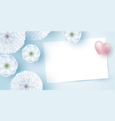 white flowers with blank paper and heart vector image