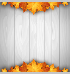 wooden background with autumn leaves place vector image