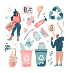 zero waste set eco style concept no plastic go vector image