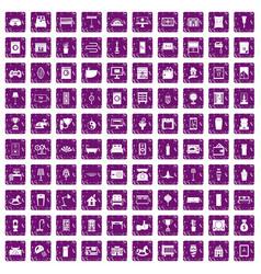 100 interior icons set grunge purple vector image vector image