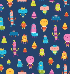 Abstract characters seamless pattern on blue vector