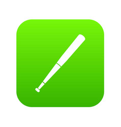 black baseball bat icon digital green vector image