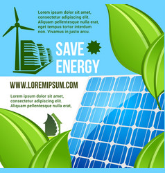 energy saving and green eco technology poster vector image vector image