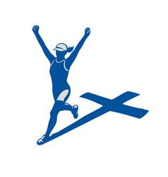 female marathon runner cross shadow vector image vector image