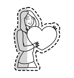 Isolated heart gift and woman design vector
