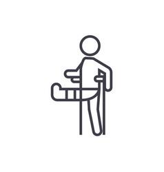 man with broken leggypsum foot crutch line vector image