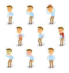 Sick Characters Set vector image
