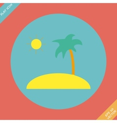 Tropical sea small island - vector image