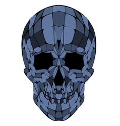 Abstract polygonal blue skull on a background vector