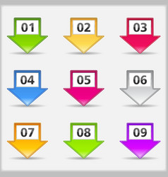 Arrows with numbers vector image vector image