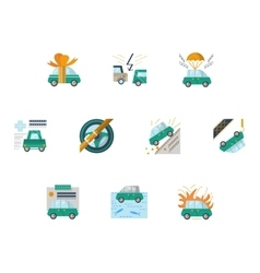 Colored icons for car insurance vector image