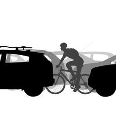 Cyclist in traffic vector image