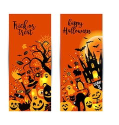 Halloween banners set on orange background vector