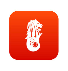 merlion statue singapore icon digital red vector image vector image