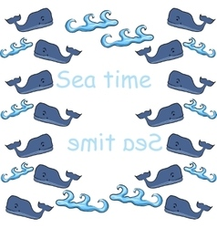 old print with whales and waves in blue tones vector image vector image