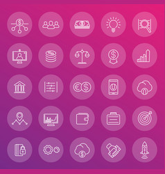 venture capital line icons set start-up forex vector image