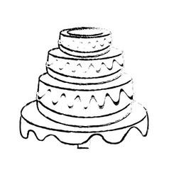 wedding cake dessert sketch vector image