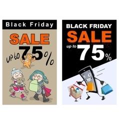 Black friday sale up 75 percent discount funny vector