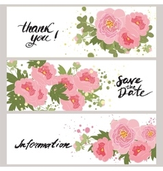 greeting hand-drawn peony floral vector image vector image