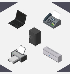 Isometric work set of office phone strongbox vector
