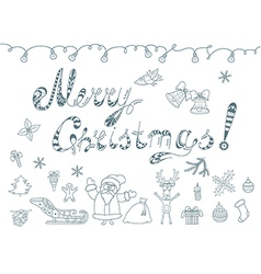 Set of Christmas Doodles Element vector image vector image