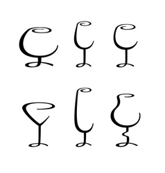 calligraphic glasses vector image vector image