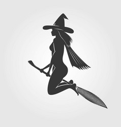 happy halloween witch on a broom - silhouette vector image