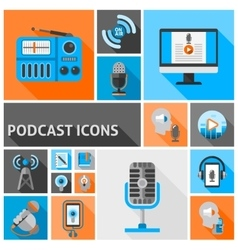 Podcast icons flat vector image