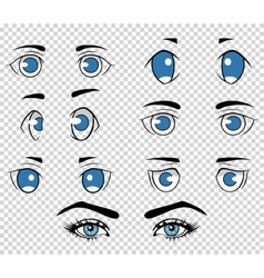 Set of different human and anime eyes cartoon vector image vector image
