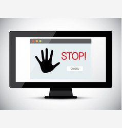 stop title on computer screen vector image vector image