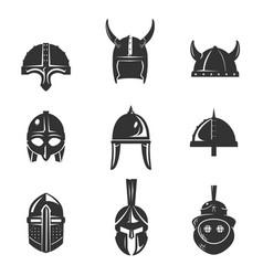 warrior helmet flat icon set vector image