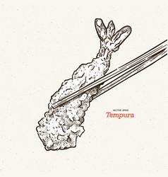 A pair chopsticks holding a piece tempura vector