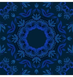 Abstract blue floral background with round pattern vector image