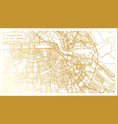 Amsterdam holland city map in retro style vector
