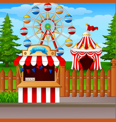 Amusement park with ferris wheel ticket booth and vector