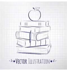 Apple on a pile books vector