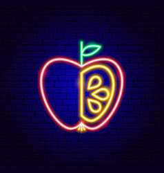 Apple with seeds neon sign vector