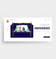 artist performing puppet show website landing page vector image