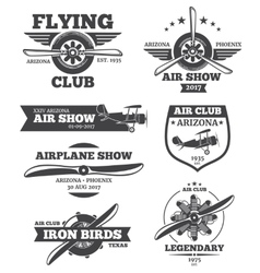 Aviation badges avia club emblems vector