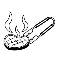 Barbecue tongs with meat steak vector