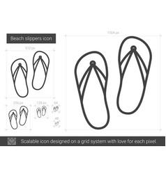 Beach slippers line icon vector