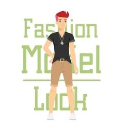 Beautiful cartoon fashion boy model vector image