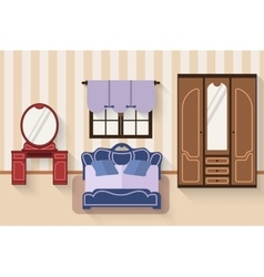 Bedroom with furniture and long shadows Flat vector