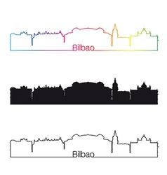 Bilbao skyline linear style with rainbow vector image