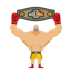Boxing champion holds belt Winner in competitions vector