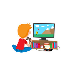 Boy sitting on floor playing video game console vector