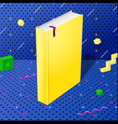bright style yellow realistic book mockup vector image