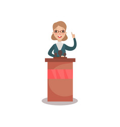 business woman or politician character speaking to vector image