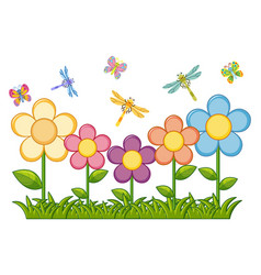 Butterflies and dragonflies in flower garden vector