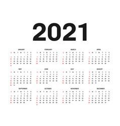 Calendar 2021 template template in black vector